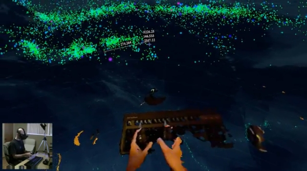 Hands via Kinect visible in virtual reality