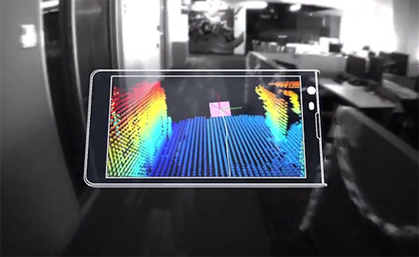Google's Project Tango phone creates 3D scan of hallway