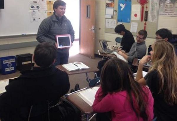 Teacher in class via Facetime