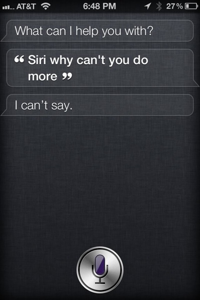 Siri can't say why she can't do more