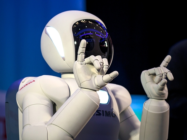 ASIMO robot using sign language