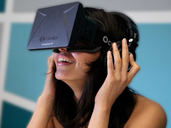 Woman using Oculus Rift