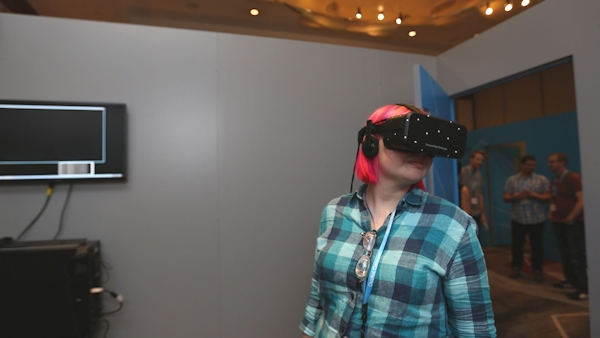 The author wearing the Oculus Rift