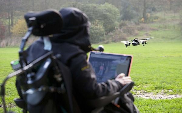 Stuart Turner controlling drone