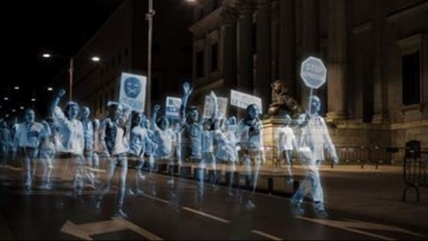 Hologram protest outside Spanish parliament