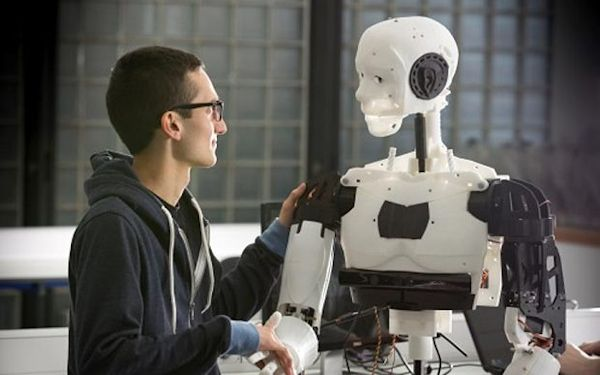 Person with Marc, 3D-printed robot