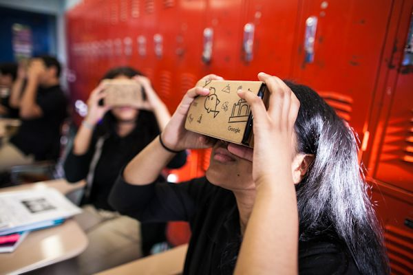 Students using Google Expeditions