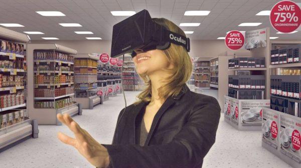 VR advertising (woman seeing store in Oculus)