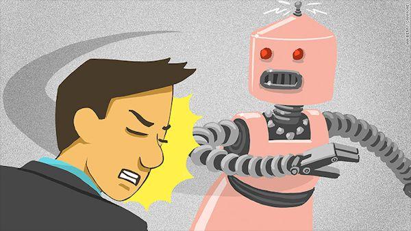 Robot slaps harasser (graphic)