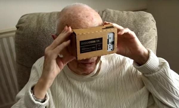 Veteran with Google Cardboard headset