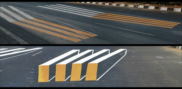 Side and driver view of 3D zebra crosswalk in India